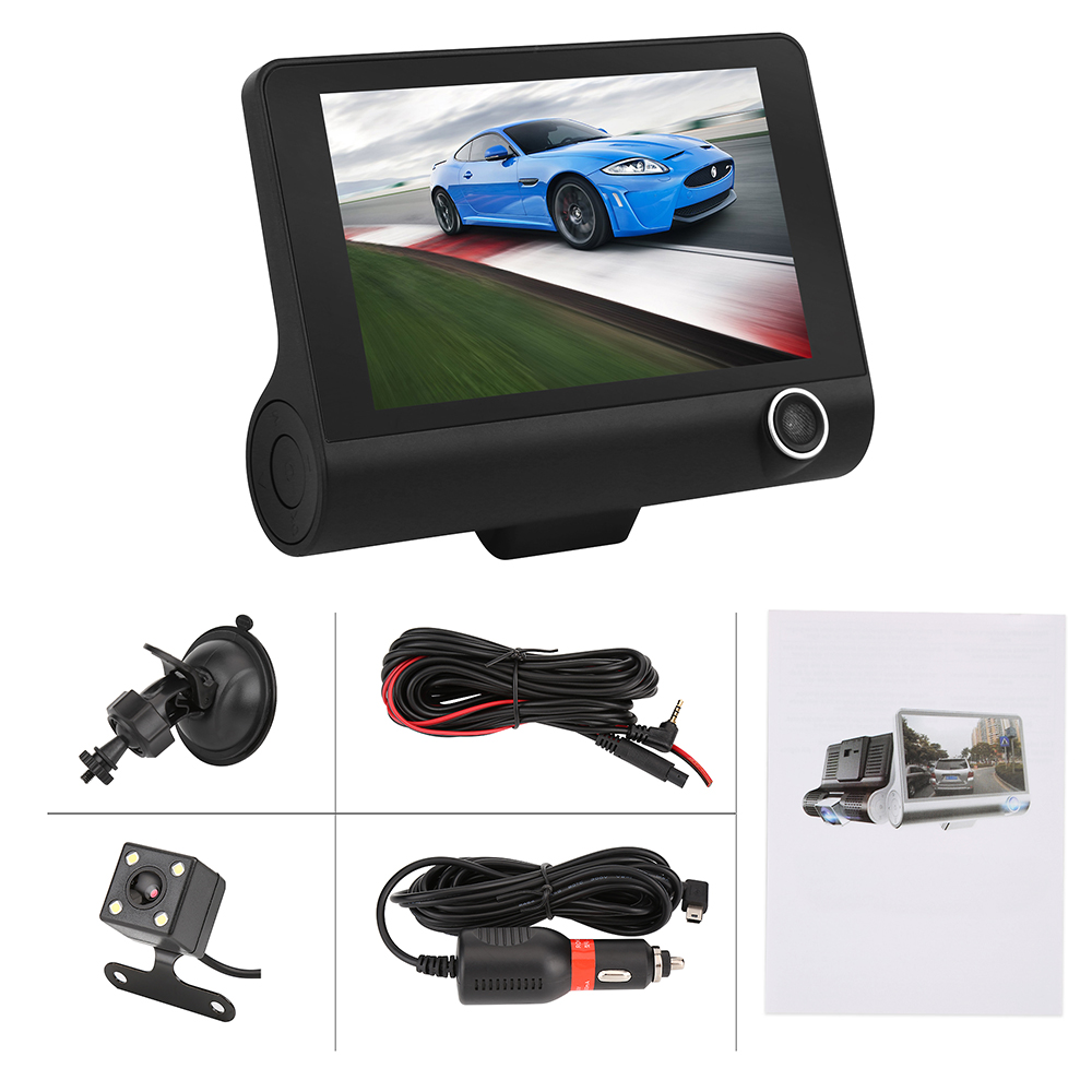 Car DVR Three Triple Lens Car Camera Full HD 1080P Video Recorder Rearview Mirror With Rear view DVR Dash cam Auto Registrator