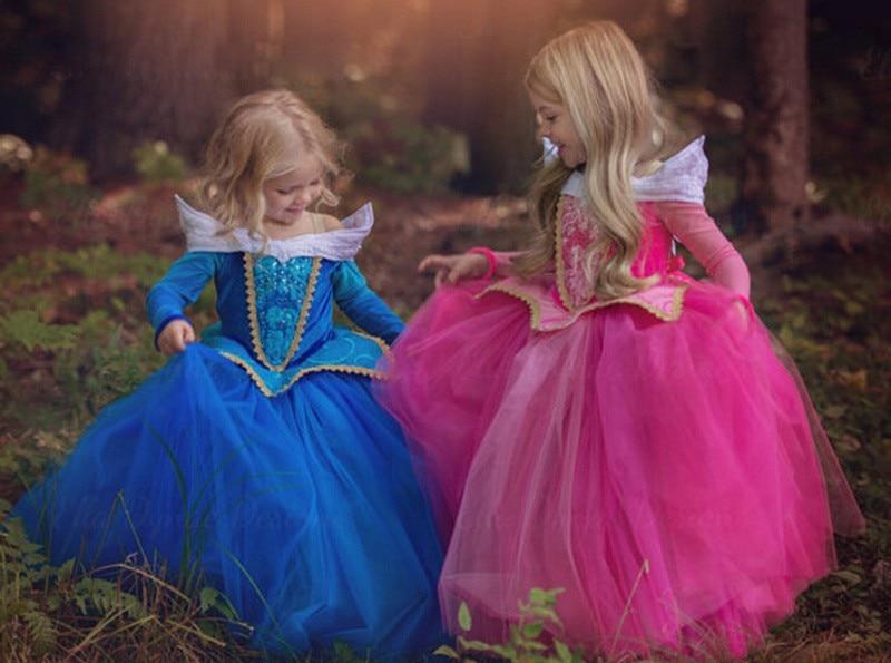 3-8Y Girl Aurora Princess Kostym Barn Sovande Skönhet Cosplay - Maskeradkläder och utklädnad