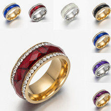 316L Stainless Steel Double Rows Rings For Women/Men Pave Setting Austrian Crystal Wedding party bride jewelry(China)