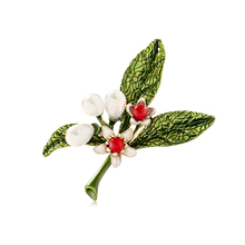 Enamel Flower Leaves Brooches Simulated Pearl  Brooch Pins Jewelry For Women Collar scarf Plant New 2019