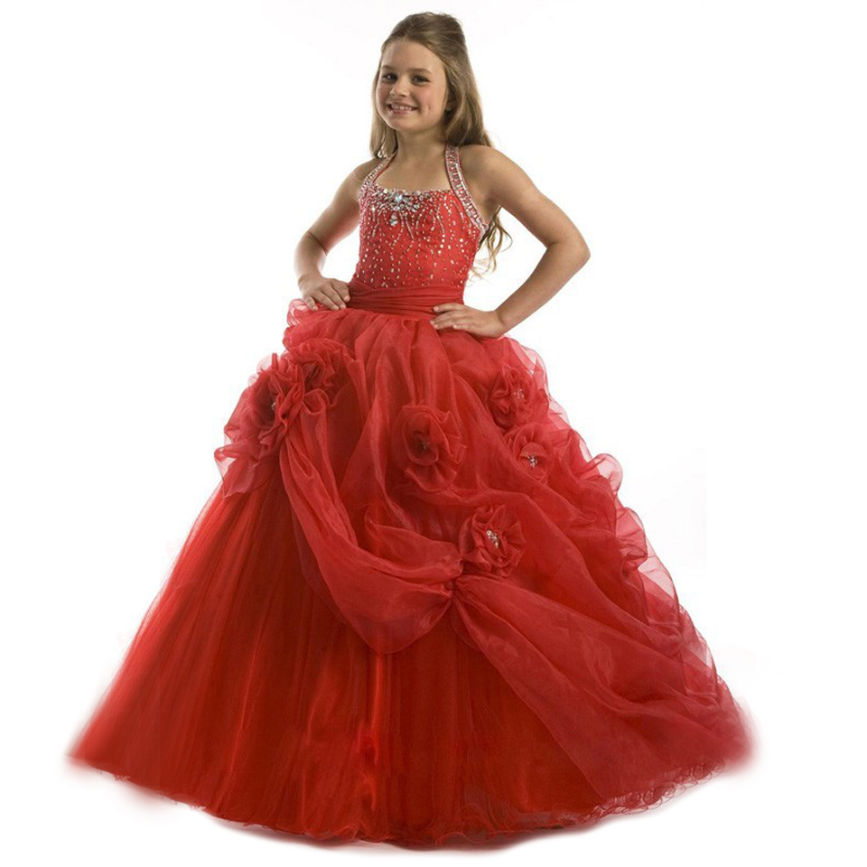 цена Amazing Flower Girl Dress Hand Made Flower Halter Open Back Beading Ruffles Glitz Pleat Pageant Prom Tulle Ball Gowns 12Y