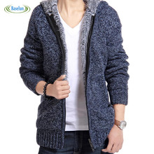 Spring Knitted Casual Sweater Cardigan Jacket Men Thick Velvet Cotton Hooded Fur Ourwear Mens Autumn Padded Coat