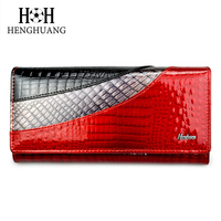 HH Luxury Genuine Leather Women Wallets Alligator Clutch Pruses Ladies Vintage Hasp Crocodile Long Purse Cion