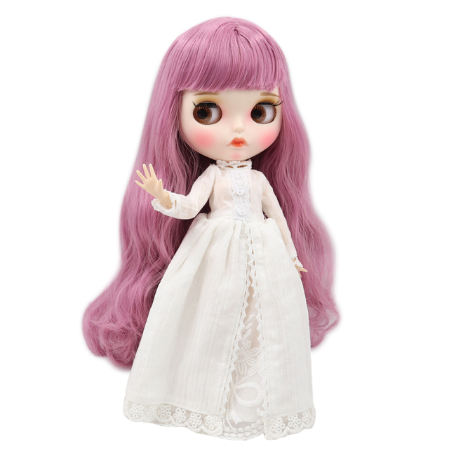 Blyth doll 1/6 bjd white skin joint body Elegant pink long curly hair matte face with eyebrows Lip gloss ICY sd toy