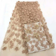 Newest Design French Lace Fabric 3D Flowers Embroidery African Tulle Beaded For Wedding HX1276-2