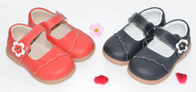 Niñas zapatos de cuero genuino mary jane negro rojo rosa con flores niños cosas SandQbaby niñas shoses zapatos estudiantiles