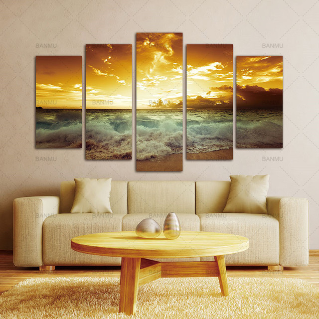 Canvas Painting Pictures a5 Piece Yellow Sea sun Modern Home Wall ...