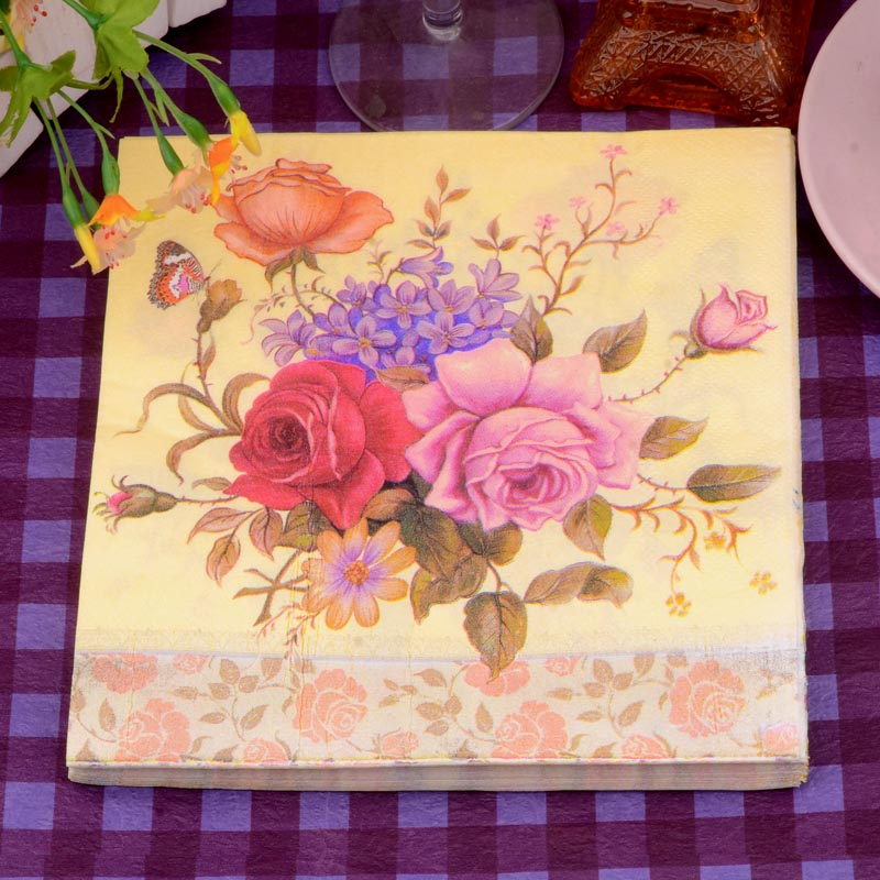 33*33cm 20 PCS/Pack Elegant Vintage Flowers Paper Napkin Party 100% Virgin Wood Paper Napkin for party dinner decoration