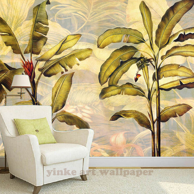 Banana Tree Leaf 3D Mural Art Wallpaper Waterproof Living Room Wallpaper , Bedroom Sofa Tv Background