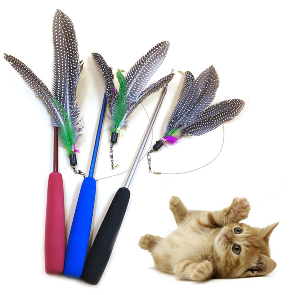 Funny Cat Toy Feathers Tease Cat Sticks For Cat Leap Pet Supplies Three Extensible Sections Fishing Rod