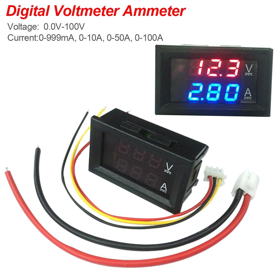 DC 100V 10A Voltmeter Ammeter Blue + Red LED Amp Dual Digital Volt Meter Gauge Current Meter Tester