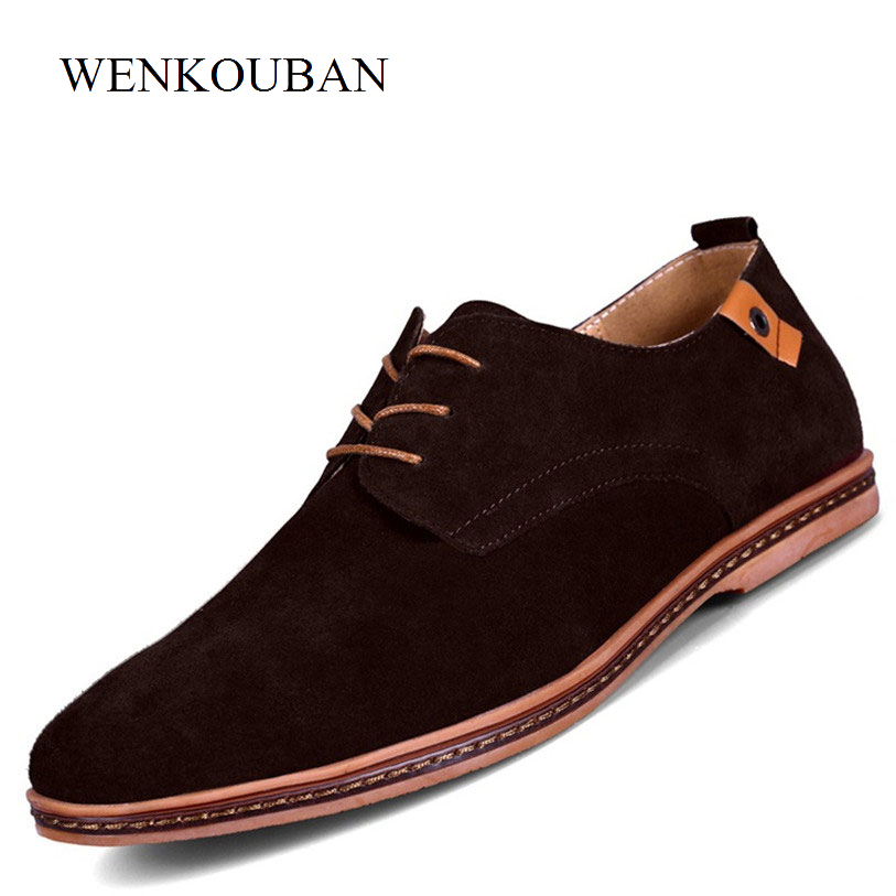 Premium Men Shoes Genuine Leather Flats Male Shoes Adult Man Casual Dress Formal Black Suede Lace Up Oxfords sapato masculino okhotcn male pointed toe cow leather shoes daily plaid men casual business dress shoes oxfords men flat lace up sapato masculino