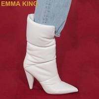 2019 Winter Warm Chunky White Boots Women Pointed Toe Spike Heeled Mid calf Boots Runway Shoes Ladies Slip On Booties Large Size