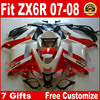 New Body Kit For Kawasaki ZX6R Fairing Kits 2007 2008 Red White Black Motorcycle Parts ZX
