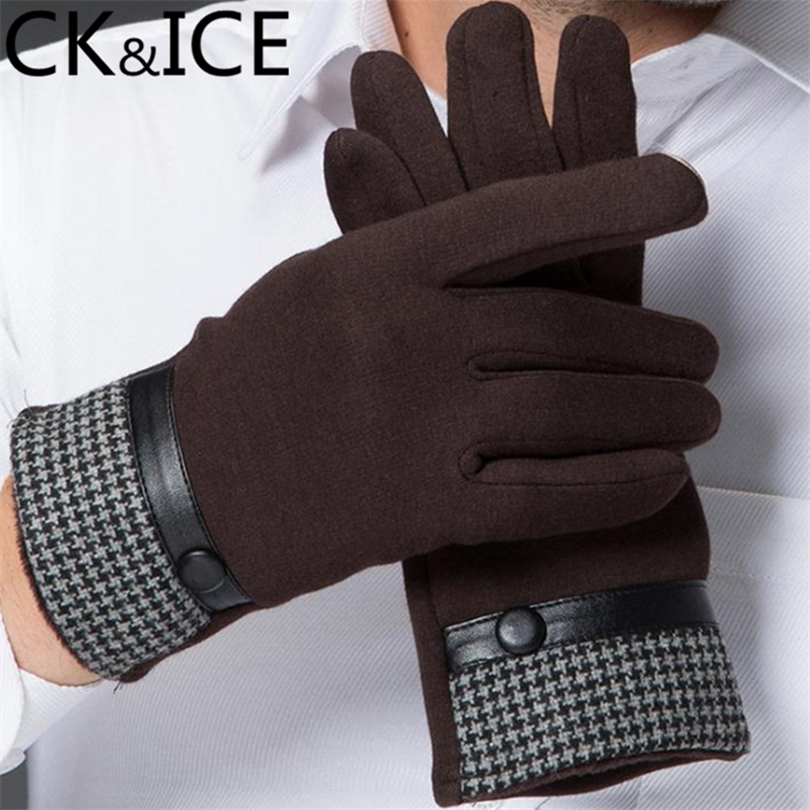 CK&ICE Fashion Men Touch Screen Gloves Striped Pattern Leather Strap Button Cotton Gloves For Male Winter Keep Warm Men Gloves