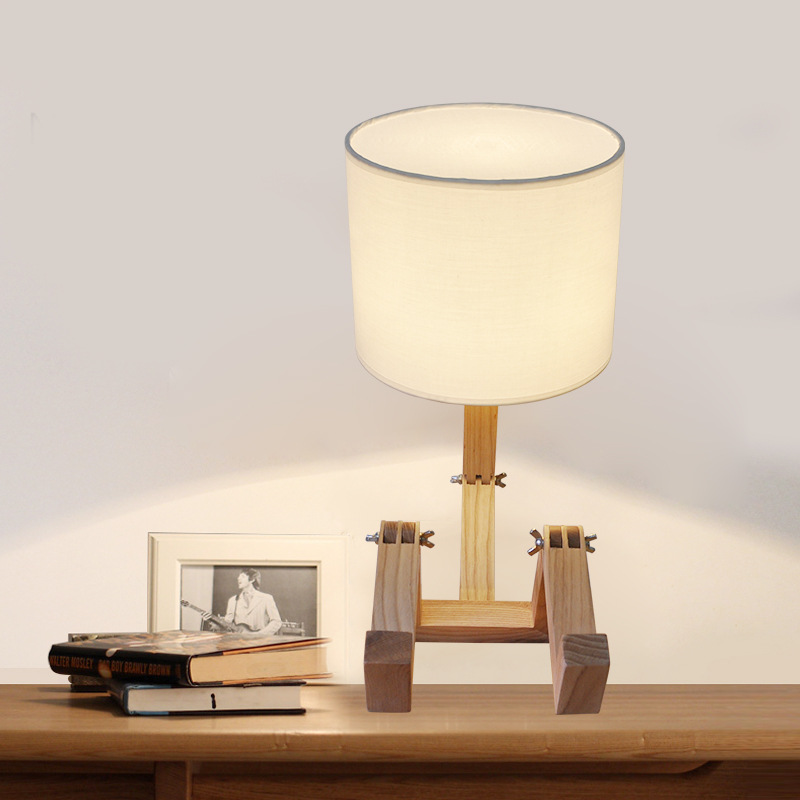 European Style Table Lamp Wooden Bedside with Fabric Lampshade Lamparas De Mesa Desk Light Deco Luminaria For Living Room botimi wooden table lamp with fabric lampshade bedside desk lights lamparas de mesa book lamps deco luminaria reading lighting