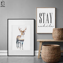 Nordic Landscape Silhouette Deer Canvas Art Posters and Prints Wall Quotes Picture Painting Modern Home Decoration