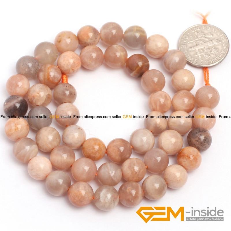 Naravni kamen Sunstone okrogla kroglica za izdelavo nakita pramen - Modni nakit - Fotografija 3