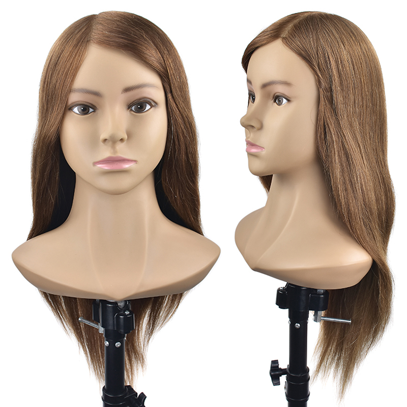Master 20Inch Hairdresser Training Mannequin Head With Shoulder Wig Head With 100% Natural Human Hair Hairstyles Practice Dolls graceful short side bang fluffy natural wavy capless human hair wig for women