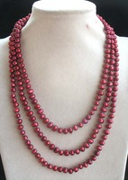 Freshwater Pearl Red Near Round 6 7mm Necklace 65inch FPPJ Wholesale Beads Nature
