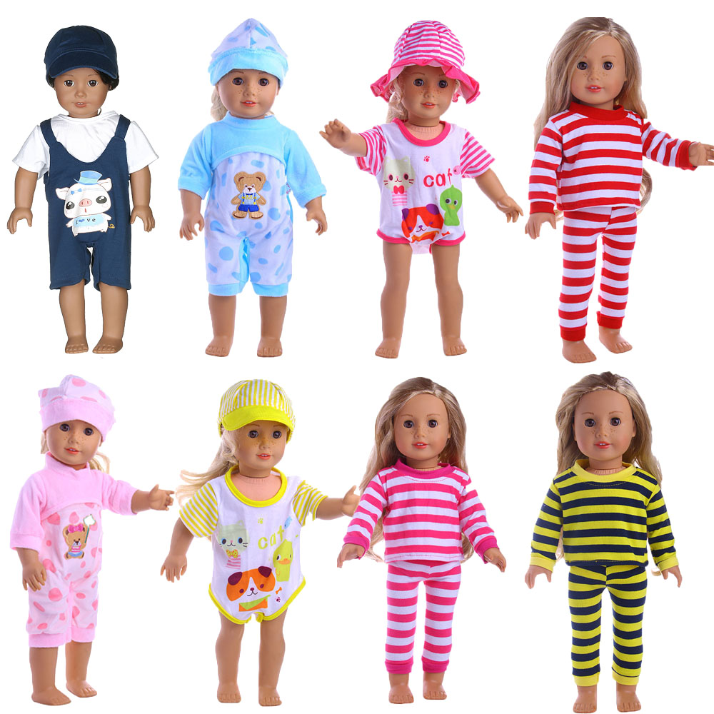 Handmade 8 Colors pajamas Dress Doll Clothes for 18 inch Dolls American Girl Doll Clothes and Accessories american girl dolls clothing 6 styles elegant color flower print long dress for 18 inch doll clothes accessories girl x 40