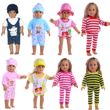 Handmade 8 Colors pajamas Dress Doll Clothes for 18 inch Dolls American Girl Doll Clothes and Accessories(China)