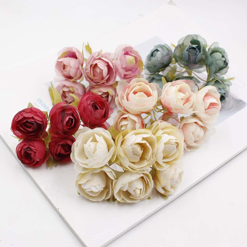 High quality 6pcs lot simulation flower silk cloth rose diy handmade wedding home party decoration supplies in Artificial Dried Flowers from Home Garden