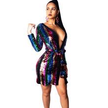 fdf09bb494 Doyerl Sparkly Going Out Multicolor Striped Sequin Wrap Dress Long Sleeve  Sexy Club