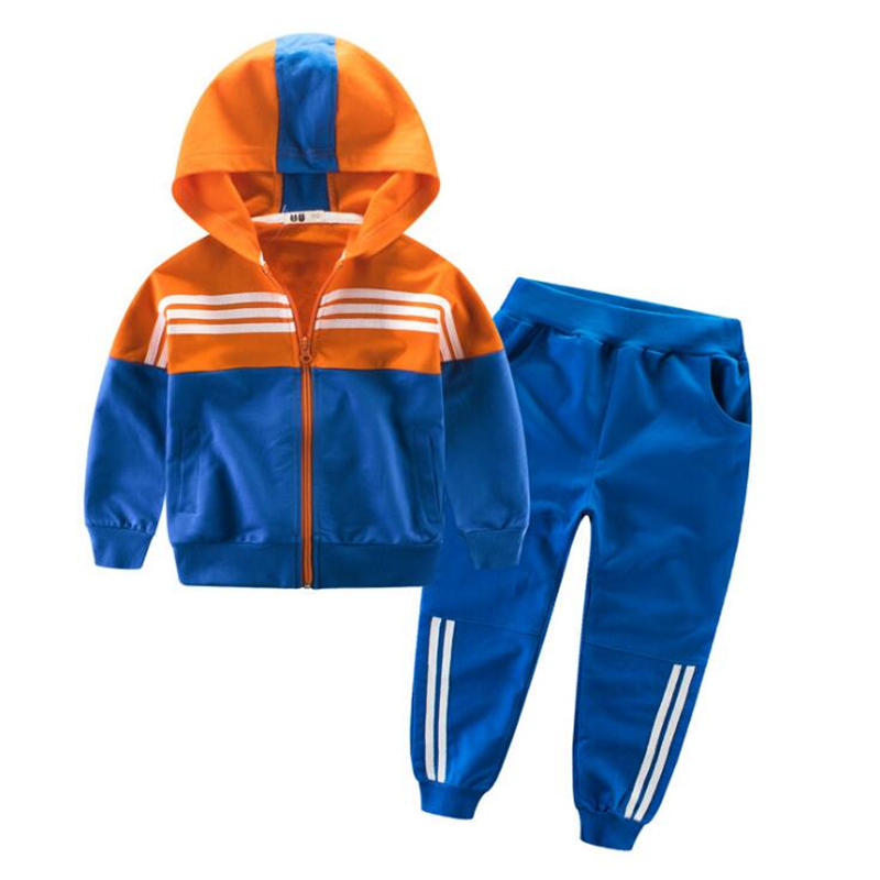2018 Spring Kids Sport Suit Boys Girls Hooded Clothing Set Zipper Sports Clothes For 4-14T Teenage Children Tracksuit
