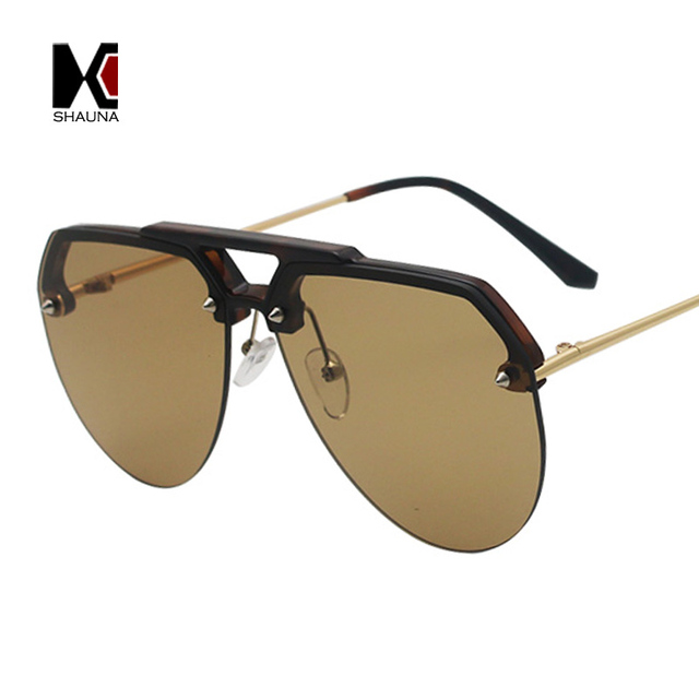 810867644e SHAUNA Oversize Candy Colors Pilot Sunglasses Women Half Frame Clear Red  Yellow Shades for Men