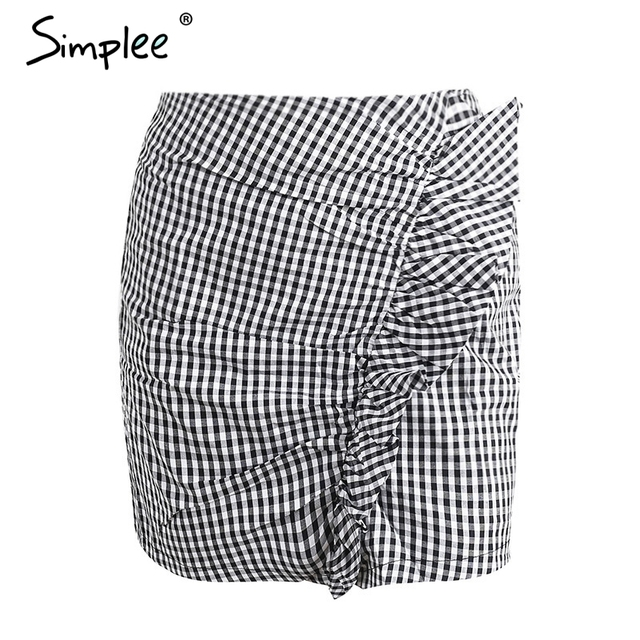 Simplee Sexy short zipper chic plaid pencil skirt female Ruffle high waist skirts womens bottom Vintage mini skirt summer beach