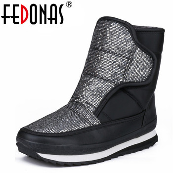 FEDONAS 2019 Brand Women's Winter Shoes Warm Platforms Snow Boots Fashion Ladies Casual Shoes Woman Mid Calf High Boots Big Size