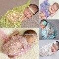 Fotografía del recién nacido Apoyos Para El Muchacho/Niñas Recién Nacido Abrigo Del Bebé Del Ganchillo de La Borla de Encaje Elastizado Envoltorios Ropa Apoyos de La Fotografía