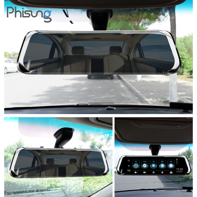 "Phisung E08 plus Car DVR 10""IPS Touch 4G Mirror DVR Android ADAS GPS FHD 1080P WIFI auto registrar rear view mirror with camera 3"