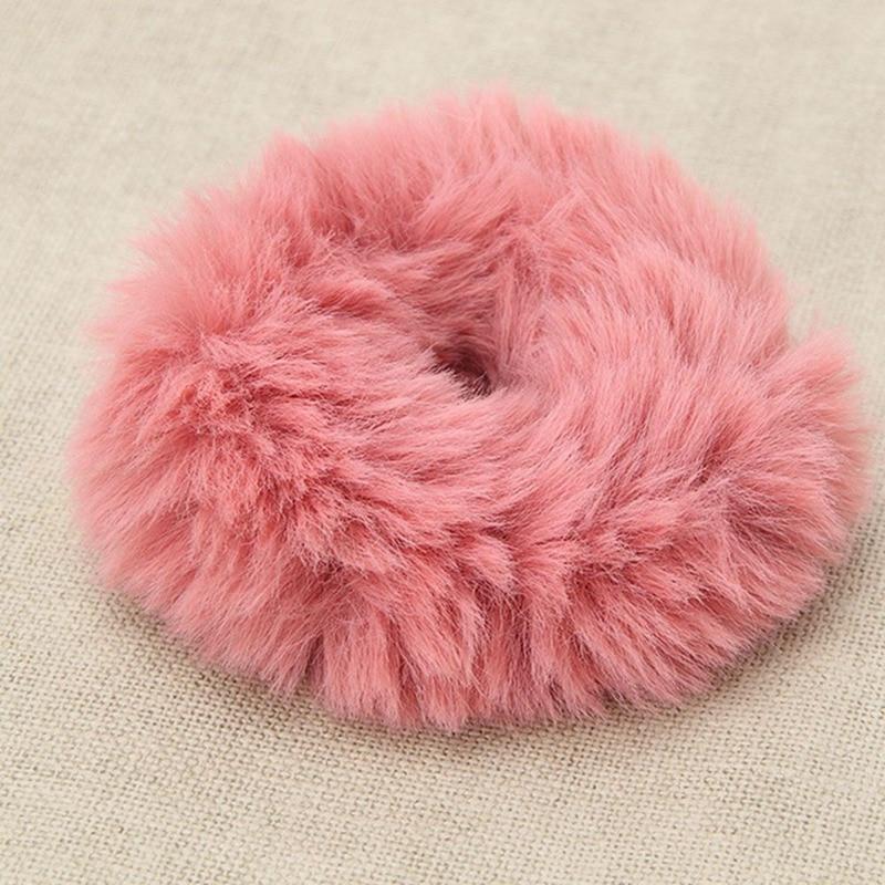 Модная эластичная резинка из искусственного кроличьего меха для девочек, резинка для волос, держатель для хвоста, эластичная плюшевая повязка для волос, кольцо, аксессуары для волос - Цвет: LP
