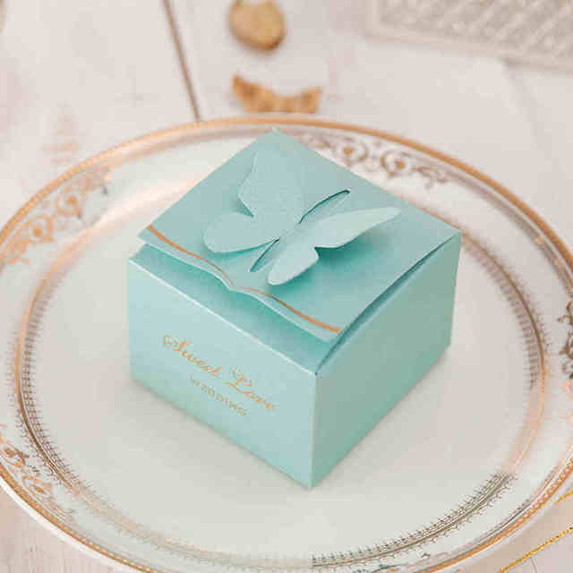 Youranwish 50pcs Tiffany Blue Sumptuous Square Erfly Wedding Candy Bo Party Favors Paper Box Supplies
