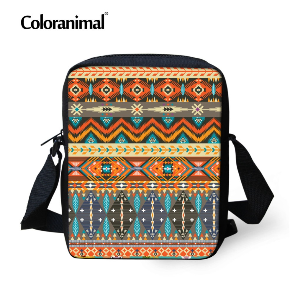 Coloranimal African Traditional Mini Messenger Bags Women Men Casual Small Children Small Crossbody Shoulder Bag Kid Schoolbag