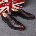 2017 Crocodile sharp genuine leather men's shoes pointed business dress wedding increased oxforfd shoes British retro shoes us 9