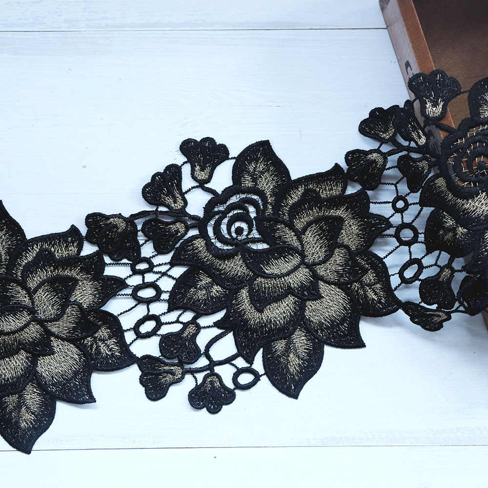 1 Yard 16 cm Genişliğinde Kırmızı Siyah Dantel Trim Şerit Için Suda Çözünür Işlemeli Dantel Kumaş Düğün Gelin Elbise Dikiş dantel Aplike