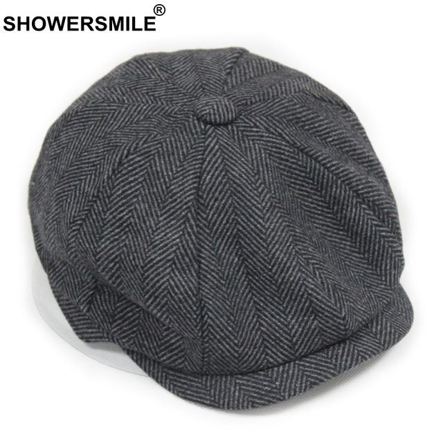SHOWERSMILE Black Grey Homem do Chapéu De Lã Tampas Jornaleiro Gatsby Tweed  Espinha De Peixe Quente 02749324094
