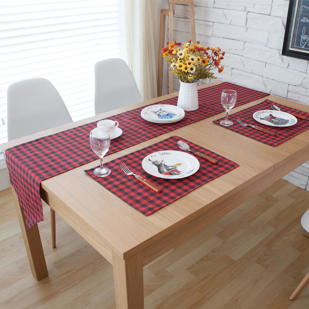 compare prices on red plaid placemats online shopping buy low 3 5 7 pieces linen cotton red plaid table runner and placemat sets