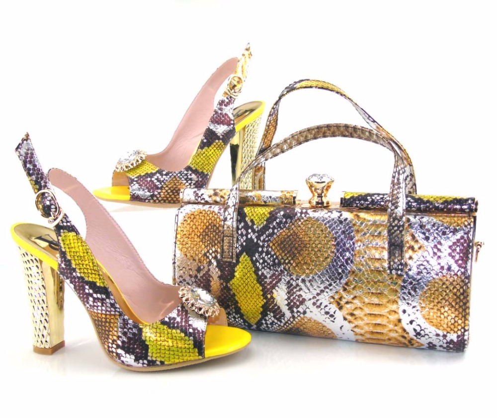 2017 Latest Fashion Ladies High Heel Italian Shoe And Bag Set Gold Color Women Dress Shoes With ...