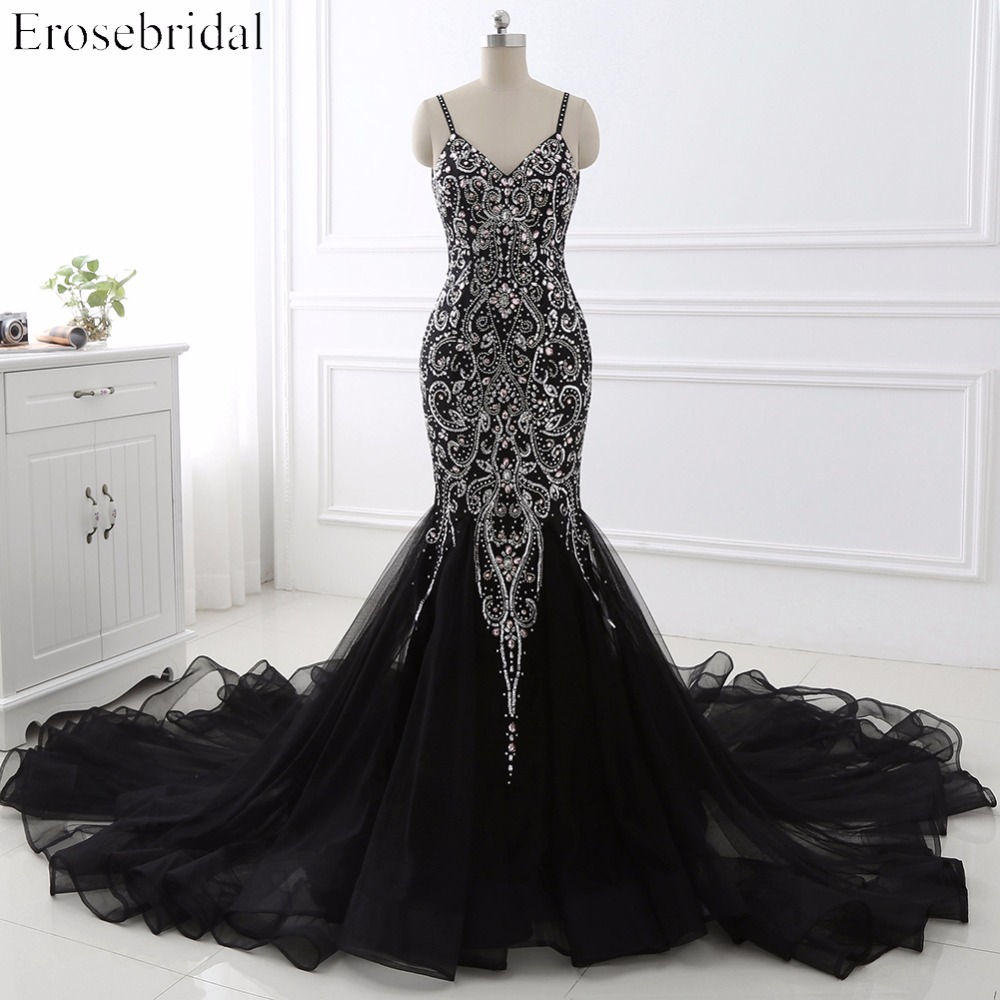 Sexy Mermaid crystal Sequined Evening Dress Deep Backless V Neck Sleeveless Open Back Court Train Formal