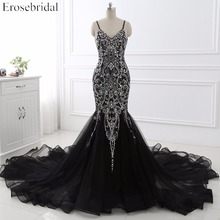 Sexy Mermaid crystal Sequined Evening Dress Deep Backless V Neck Sleeveless  Open Back Court Train Formal Party Dress YY0011