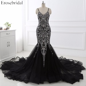 Image 1 - Sexy Mermaid crystal Sequined Evening Dress Deep Backless V Neck Sleeveless  Open Back Court Train Formal Party Dress YY0011