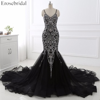 цена на Sexy Mermaid crystal Sequined Evening Dress Deep Backless V-Neck Sleeveless  Open Back Court Train Formal Party Dress YY0011