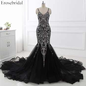 Sexy Mermaid crystal Sequined Evening Dress Deep Backless V-Neck Sleeveless  Open Back Court Train Formal Party Dress YY0011 - DISCOUNT ITEM  0% OFF All Category