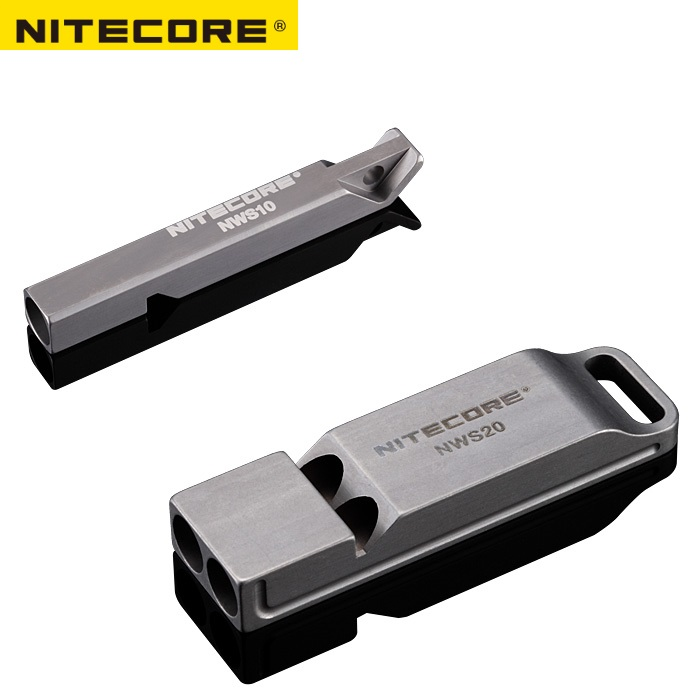Nitecore NWS10 NWS20 Titanium Emergency Whistle Necklace Pendant Outdoor 120dB with Key Chain+Free S