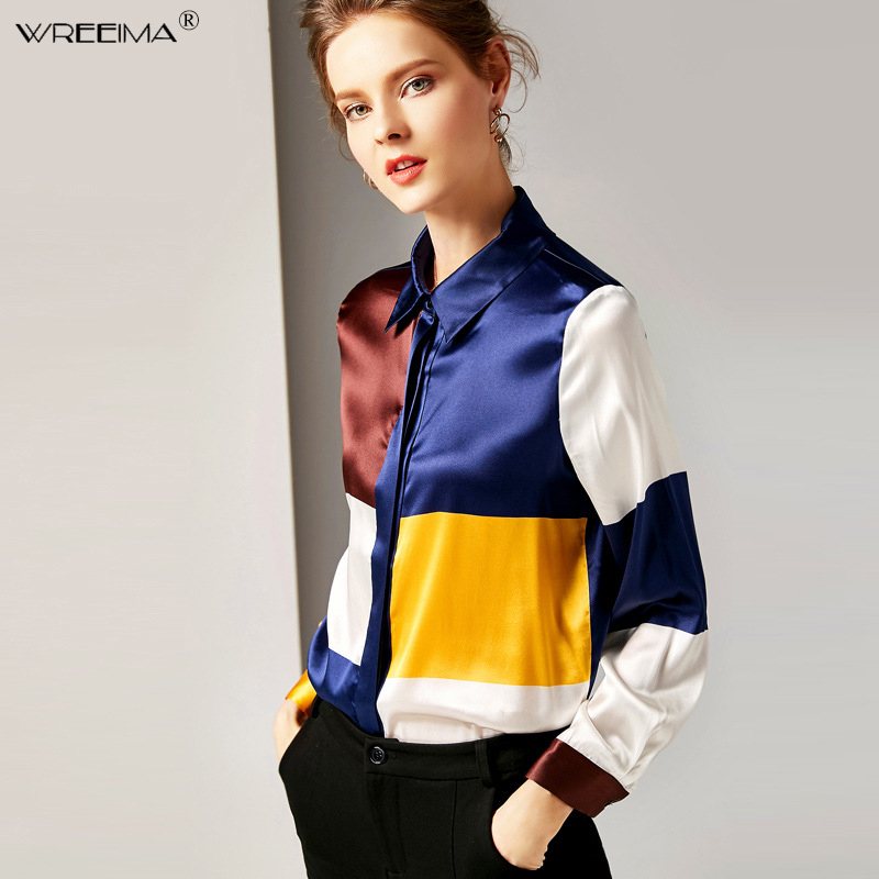 2019spring Women silk blouse lapel long sleeve shirts ladies office work elegant female Top Plaid Patchwork high quality Blouses