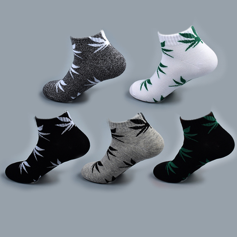 Bamboo Summer Women Men's Funny Ankle Socks Hemp Meias Short Happy Maple Leaf Sokken Cotton Weed Men Grass White Black Socken